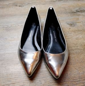 GAP | Chrome Silver Loafer Flats Pointed Toe